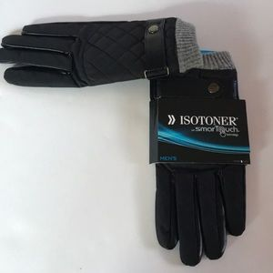 NEW$65 ISOTONER NYLON PU QUILTEDSmart Touch Gloves